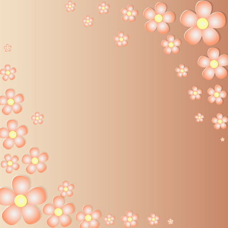 yellow flowers: background made with Stylized Orange Flowers Placed in the Opposite Corners