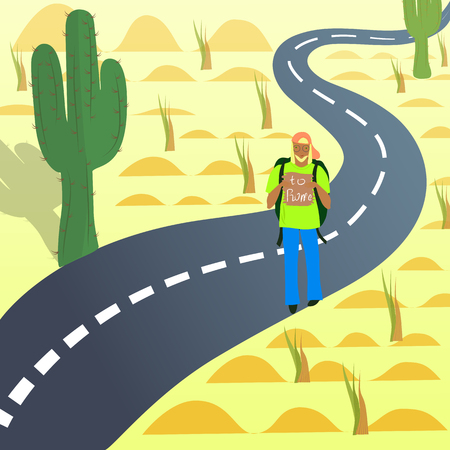 wrote: Young Hitch-Hiker on the Road in Desert with the destination Wrote on the Tablet