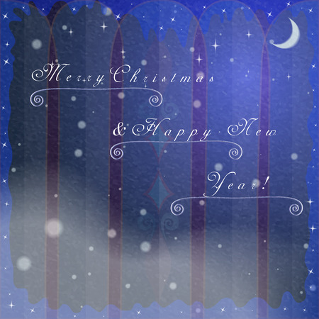 natural arch: Christmas Greeting Cards Background with Frozen Winter Arch Window