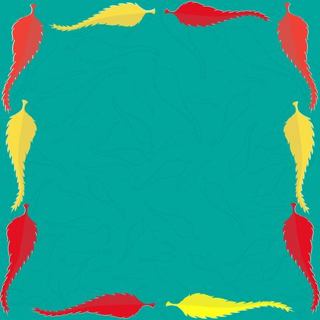 yellow leaves: Frame with Red and Yellow Leaves on the Turquoise Background Illustration