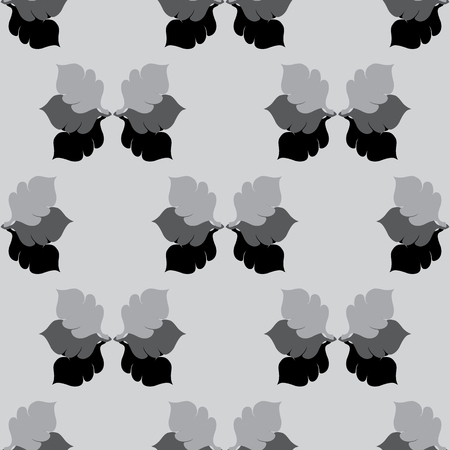 grayscale: Seamless Floral Grayscale Pattern with Oak Leaves Palced in Order Illustration