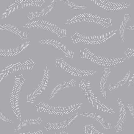 grayscale: Seamless Floral Grayscale Pattern with Carved Fern Fronds Illustration