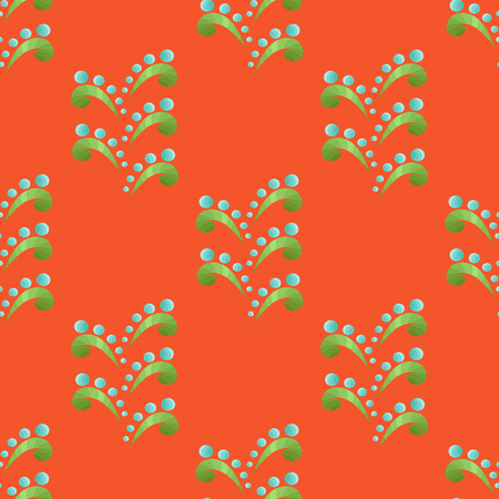 ethnic style: Blue-Green Seamless Floral Pattern in Ethnic Style on the Orange Background Illustration
