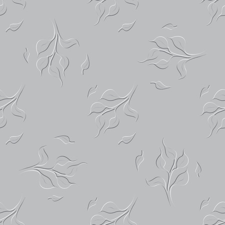 twigs: Seamless Floral Grayscale Pattern with Tree Twigs and Falling Leaves