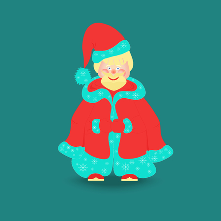 fur hood: Cute Santa Claus in Christmas Clothes Standing Isolated on the Dark Cyan Background Illustration