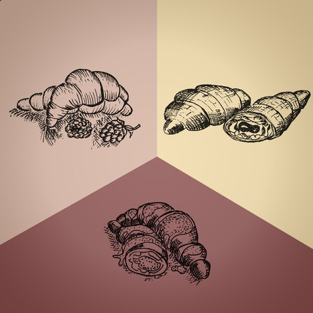 segmented: Three Kinds of Hand Drawn Croissants on the Segmented Colored Background
