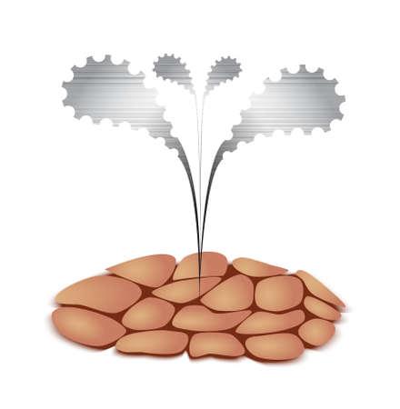 drought: Metal Seedling Growing through Drought Soil as Interpretation of Technology Progress.