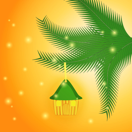 pine needle: Background with Little House as a Christmas Toy Hanging on the Christmas Tree.