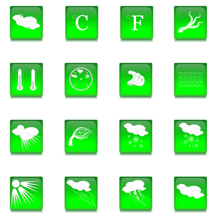 sleet: Set of Sixteen Bright Green Glass Buttons with Various Weather Icons