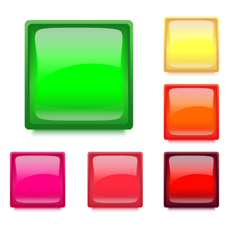 Set with Glossy Square Web Buttons for WebSites and Apps. Vector Illustration Design Element.