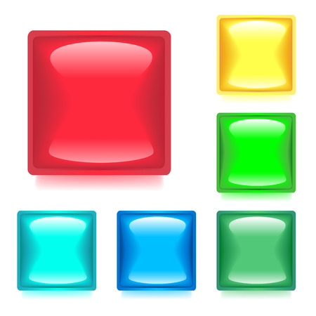 Set with Six Glossy Buttons for WebSites and Apps. Vector Illustration Design Element.