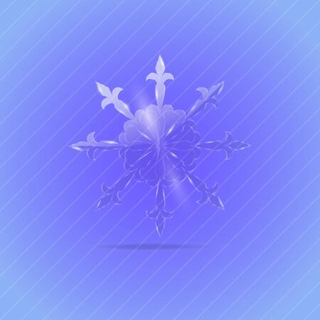 oblique line: Single Glassy Snowflake with Glitter and Shimmer on the Blue-Violet Background Illustration