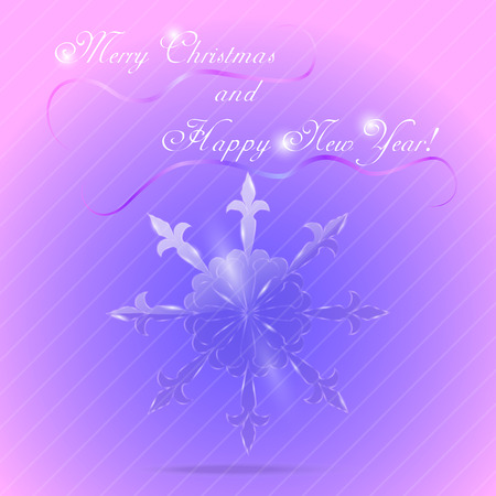 oblique line: Colorful New Year and Christmas Greeting Card with Crystal Snowflake