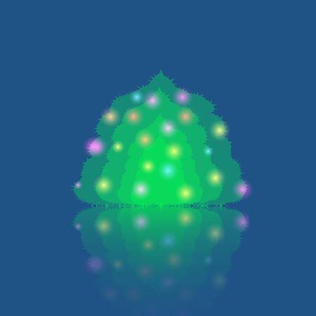 pine needle: Single Illuminated Christmas Tree Made in Flat Style. EPS