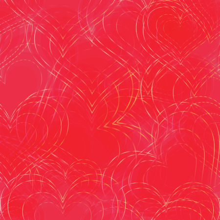chaotically: Seamless Background with Red Heart Shapes and Golden Contours Placed Chaotically