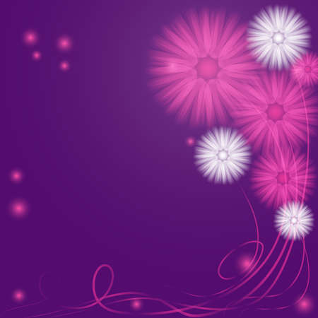 Delicate Purple and Lilac Abstract Flowers with Flowing Stems and Fireflies