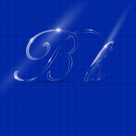 italics: Shining Transparent Glass Italics Letters B on the Color Background Illustration