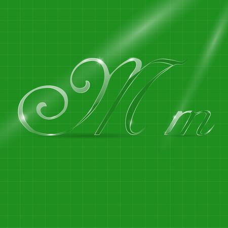 italic: Shine Transparent Glass Italic Letters M on the Green Background