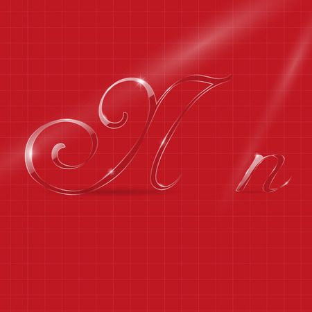 italic: Shine Transparent Glass Italic Letters N on the Bright Red Background