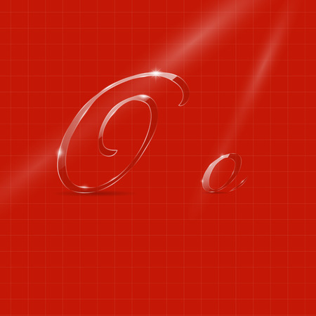italic: Shine Transparent Glass Italic Letters O on the Red Background
