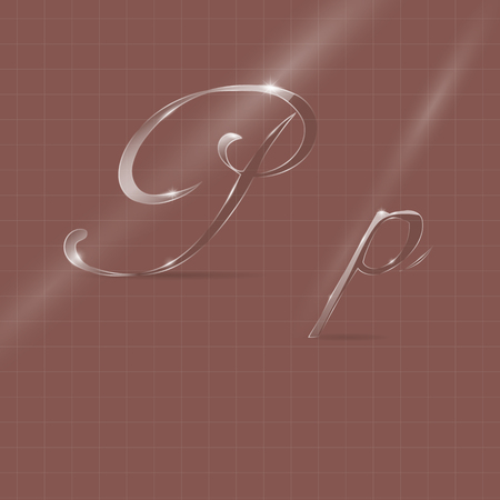 italic: Shine Transparent Glass Italic Letters P on the Color Background Illustration
