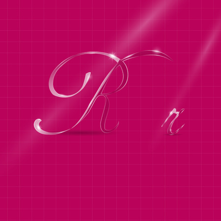 ron: Shine Transparent Glass Italic Letters Ron the Pink Background