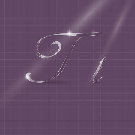 italic: Shine Transparent Glass Italic Letters T on the Violet Background