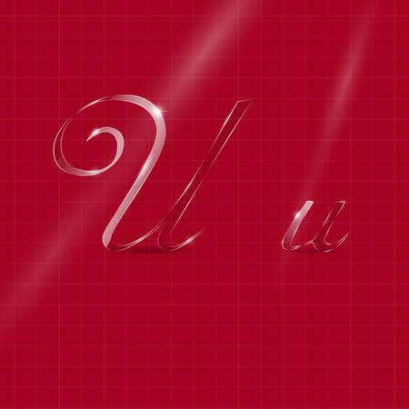 italic: Shine Transparent Glass Italic Letters U on the Dark Red Background