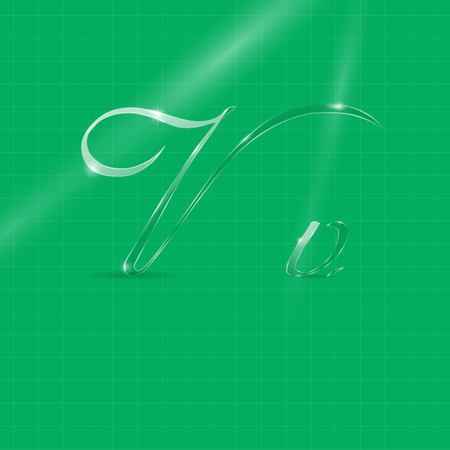italic: Shine Transparent Glass Italic Letters V on the Light Green Background