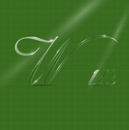 italic: Shine Transparent Glass Italic Letters W on the Green Background Illustration