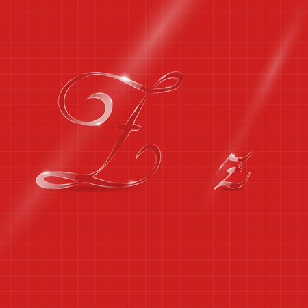 italic: Shine Transparent Glass Italic Letters Z on the Red Background