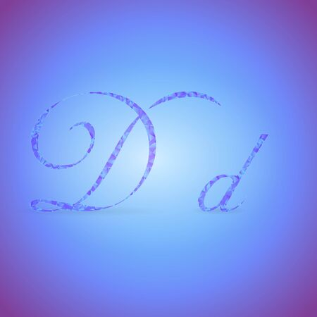 italics: Letters D in Italics Style Placed on the Color Background and Filled with Polygonal Pattern