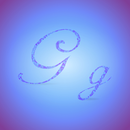 italics: Letters G in Italics Style Placed on the Color Background and Filled with Polygonal Pattern