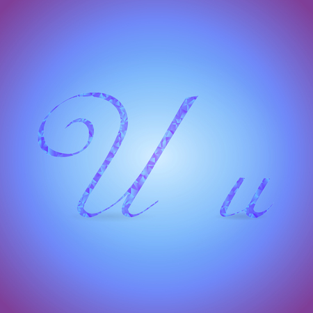 italics: Letters U in Italics Style Placed on the Color Background and Filled with Polygonal Pattern