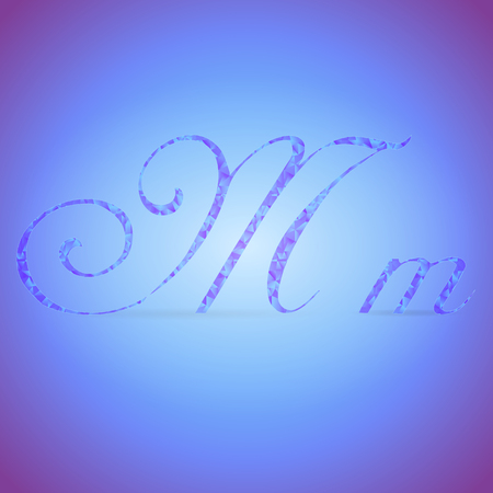 italics: Letters M in Italics Style Placed on the Color Background and Filled with Polygonal Pattern