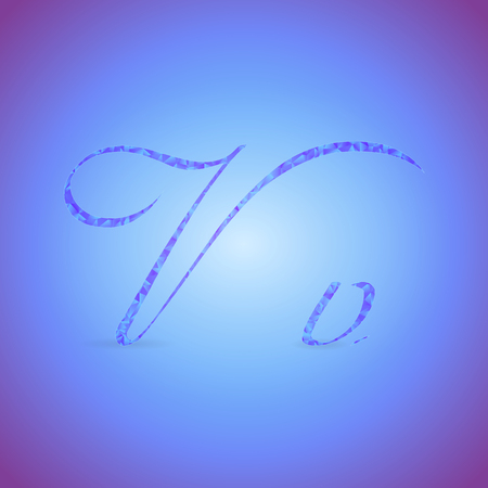 italics: Letters V in Italics Style Placed on the Color Background and Filled with Polygonal Pattern