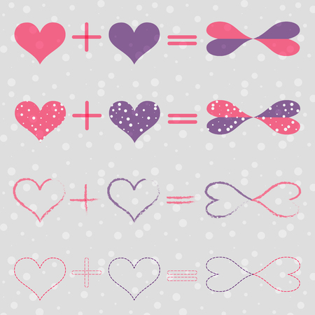 endlessness: Set with Love Equations Meaning that Heart Plus Heart Equally Endless Love