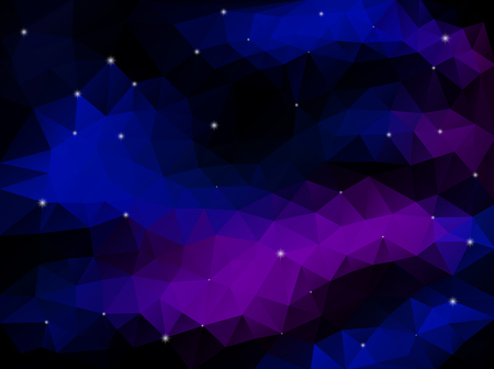 Night Dark Sky with  Colorful Clouds and Stars. Polygonal Vector Style.