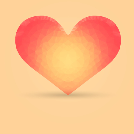 colores calidos: Single Heart with Polygonal Pattern Made in Warm Colors Vectores
