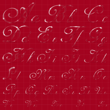ice alphabet: The Entire English Alphabet Performed in Cursive Calligraphic Style. Imitation of Glass or Ice Transparency. Ideal for Winter Lettering. EPS 10 vector