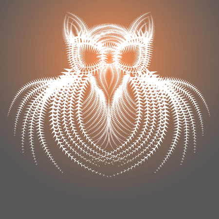 spiky: Abstract Spiky Drawing of the Owl  Bird.Vector EPS 10.
