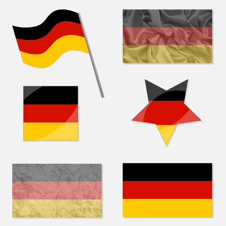 yellow star: Flags of Germany Made in Different Variations: in Flat Design, with  Fabric Texture and as Web Buttons