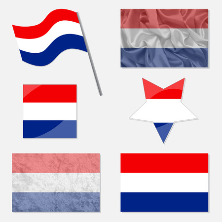 Flags of Netherlands Made in Different Variations: in Flat Design, with  Fabric Texture and as Web Buttons