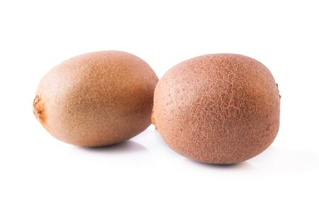 even: Two Even Ripe Kiwi Fruits Isolated on the White Background Stock Photo