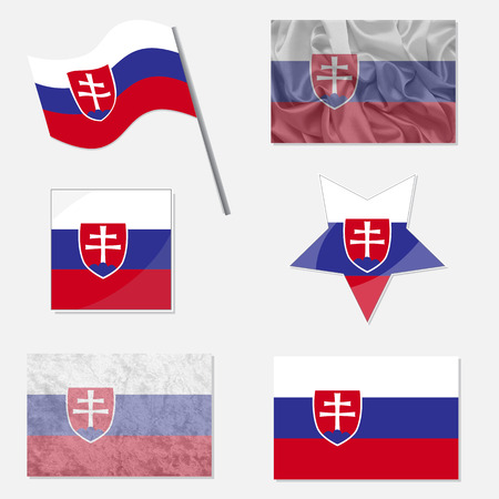 x country: Flags of Slovakia Made in Different Variations: in Flat Design, with  Fabric Texture and as Web Buttons Illustration