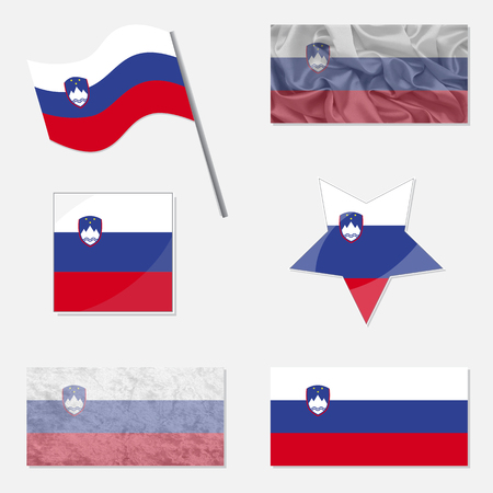 x country: Flags of Slovenia Made in Different Variations: in Flat Design, with  Fabric Texture and as Web Buttons
