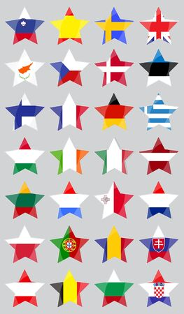 star shaped: Set with European Union  Flags Made as Five-Pointed Star Shaped Buttoms Isolated on the Light Grey Background