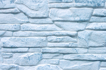 whitewashed: Background of Decorated  Brick Wall Whitewashed with Blue Color Paint