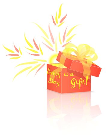 red gift box: Shining Sun Inside Red Gift Box with Conceptual Lettering.