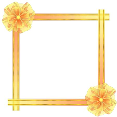 semitransparent: Square Frame from Semitransparent Organza Fabric with Bows and Golden Textured Stripes Illustration